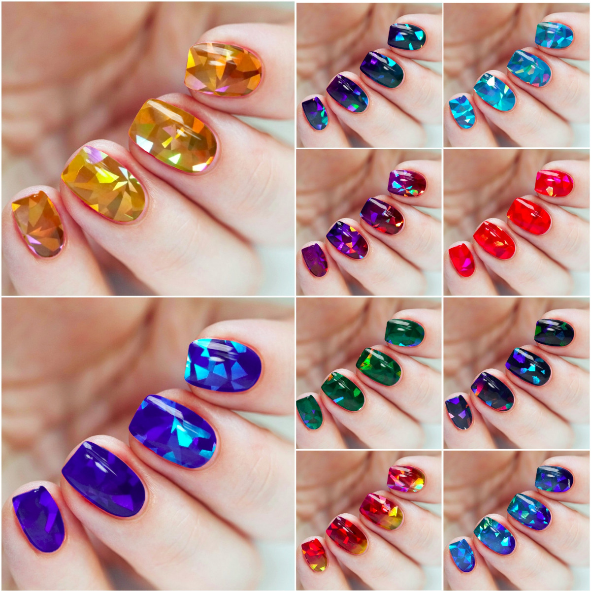 13 X Broken Glass Holographic Nail Art Foil Decoration Wrap Transfer