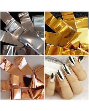 3 x Nail Foil GOLD SILVER ROSE GOLD Nail Art Wrap Foils Transfer Sticker Polish Decal Decoration