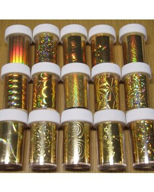 30 x GOLD Nail Art Wrap Foils Transfer Glitter Sticker Polish Decal Decoration